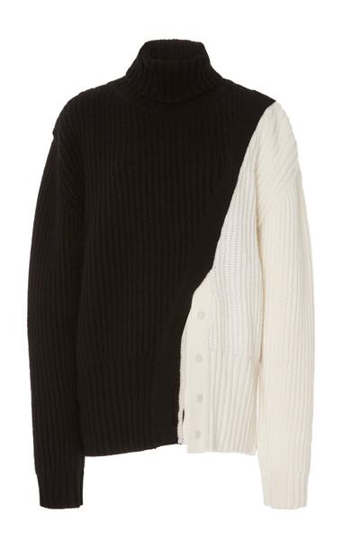 Prabal Gurung Color Blocked Cashmere Turtleneck Sweater in black / white