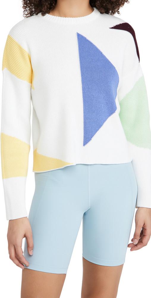 Sweaty Betty Flash Dance Cotton Sweater in white / multi