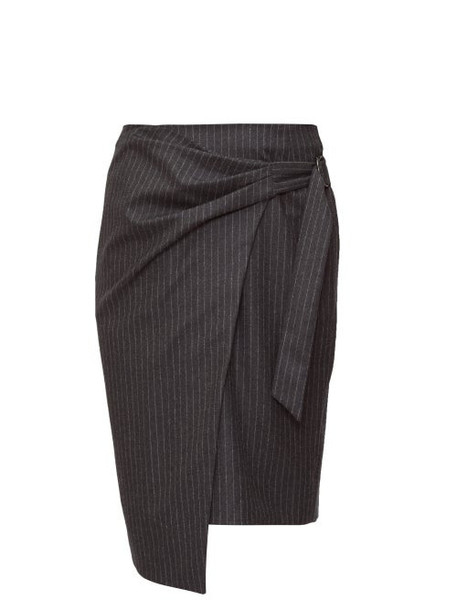 Isabel Marant - Minnalia Ruched Chalk-striped Wool Pencil Skirt - Womens - Grey