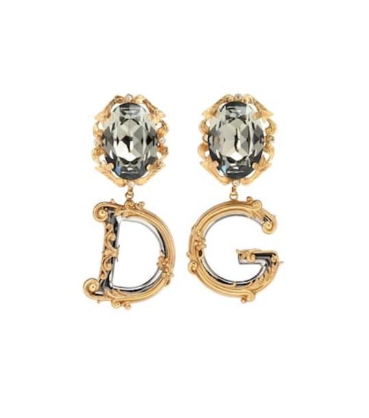 Dolce & Gabbana Crystal-embellished drop earrings in gold