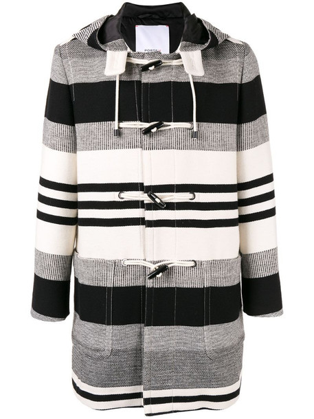 Ports V striped duffle coat in black