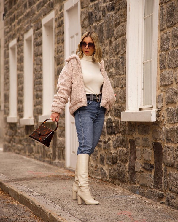jacket teddy jacket knee high boots high waisted jeans white turtleneck top bag