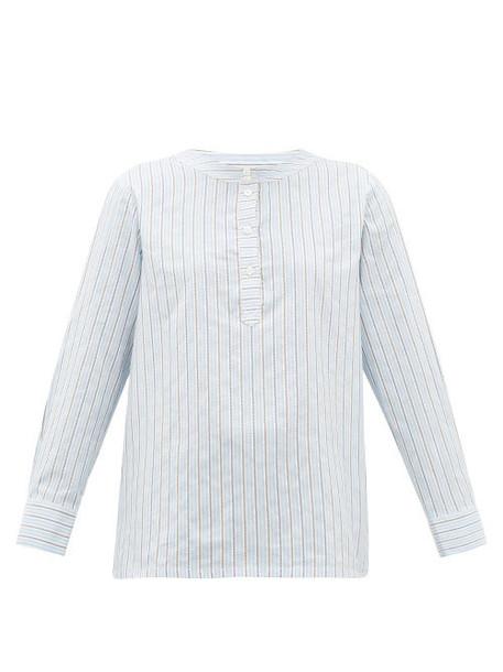 A.P.C. A.p.c. - Nine Striped Cotton-blend Poplin Shirt - Womens - Light Blue