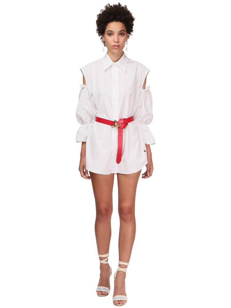 VIVIENNE WESTWOOD Cotton Poplin Mini Dress W/cut Out in white