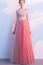 dress,prom dresses 2019,one shouler prom dress,long prom dress,coral prom dress,floral prom dresses,tulle prom dresses,applique prom dresses