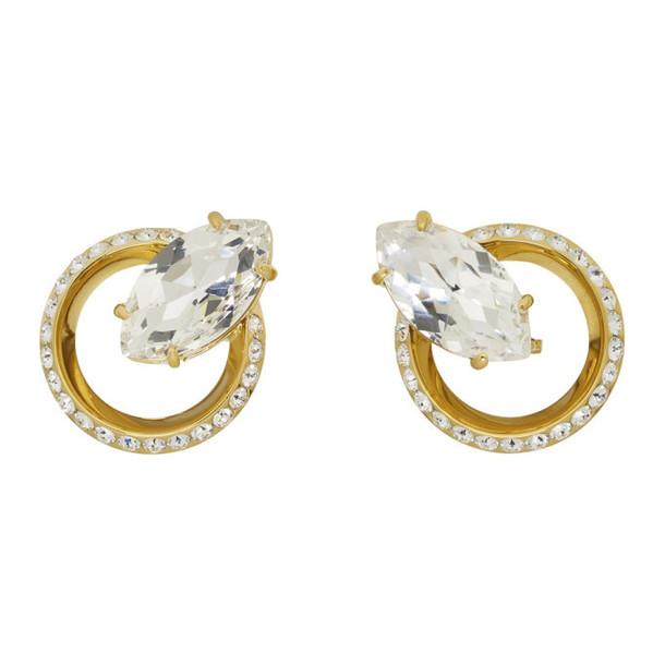 Miu Miu Gold Crystal Clip-On Earrings