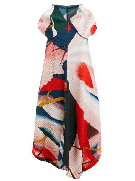 Issey Miyake - Bloom Pleats Printed Dress - Womens - Pink Multi