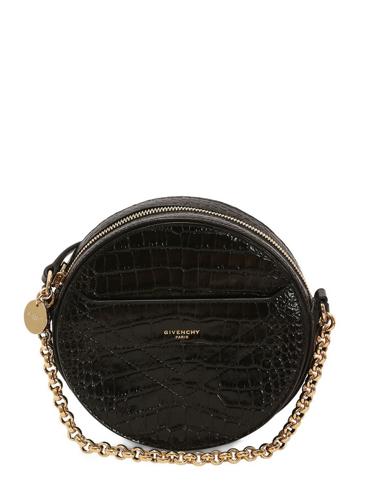 GIVENCHY Round Eden Croc Embossed Leather Bag in black