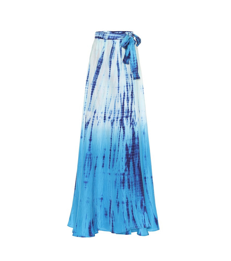 Anna Kosturova Cara tie-dye silk skirt in blue