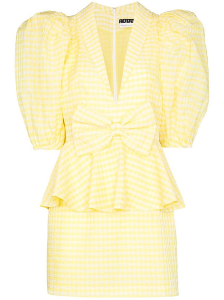 ROTATE Johanna gingham mini dress in yellow
