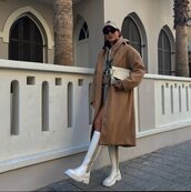 coat,oversized coat,white boots,knee high boots,hoodie,shorts,bag,cap