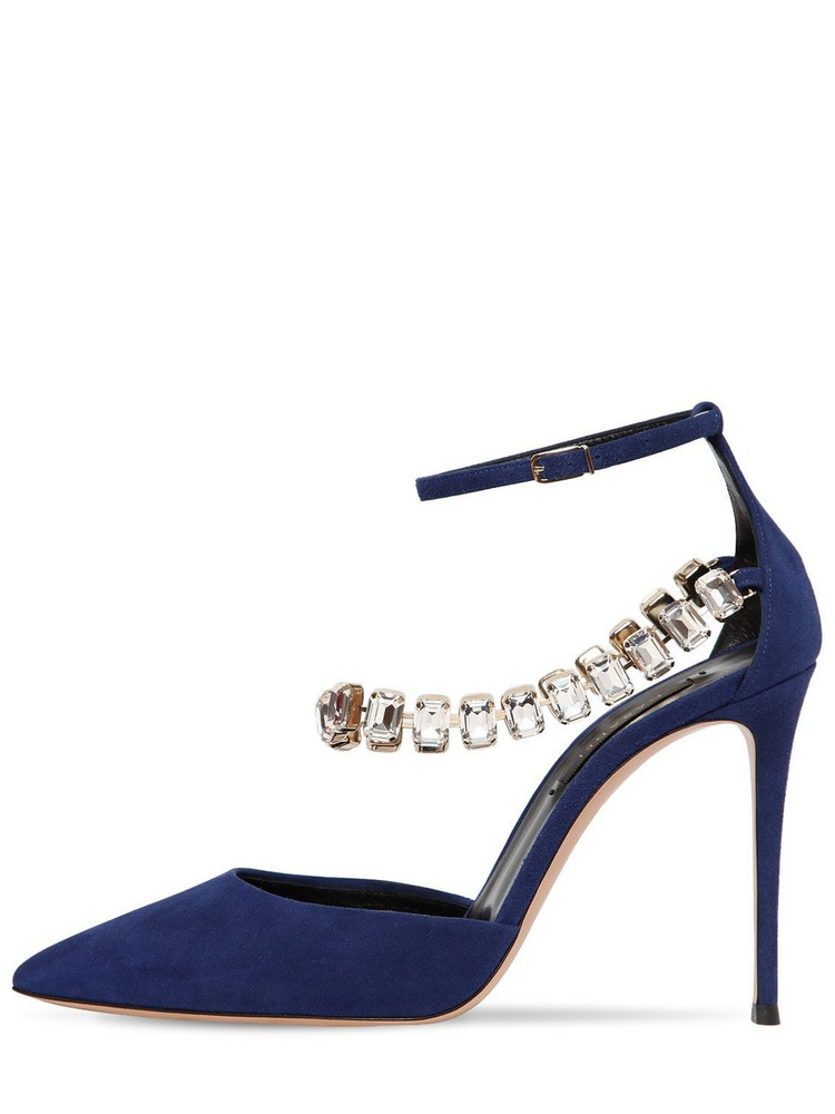 CASADEI 100mm Embellished Suede Pumps in blue