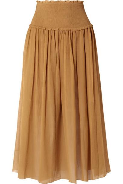 Zimmermann - Primrose Cotton And Silk-blend Plissé Skirt - Mustard
