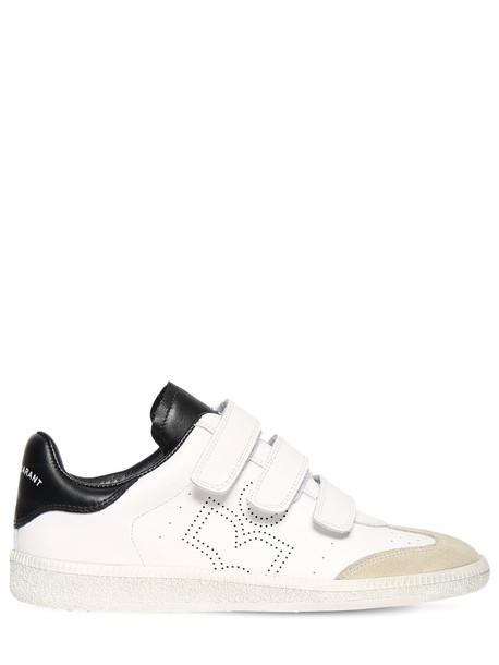 ISABEL MARANT 20mm Beth Leather Strap Sneakers in black / white