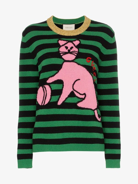 Gucci Sweater with cat and baseball in green