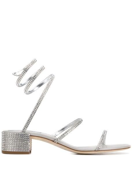 René Caovilla Snake embellished sandals in silver