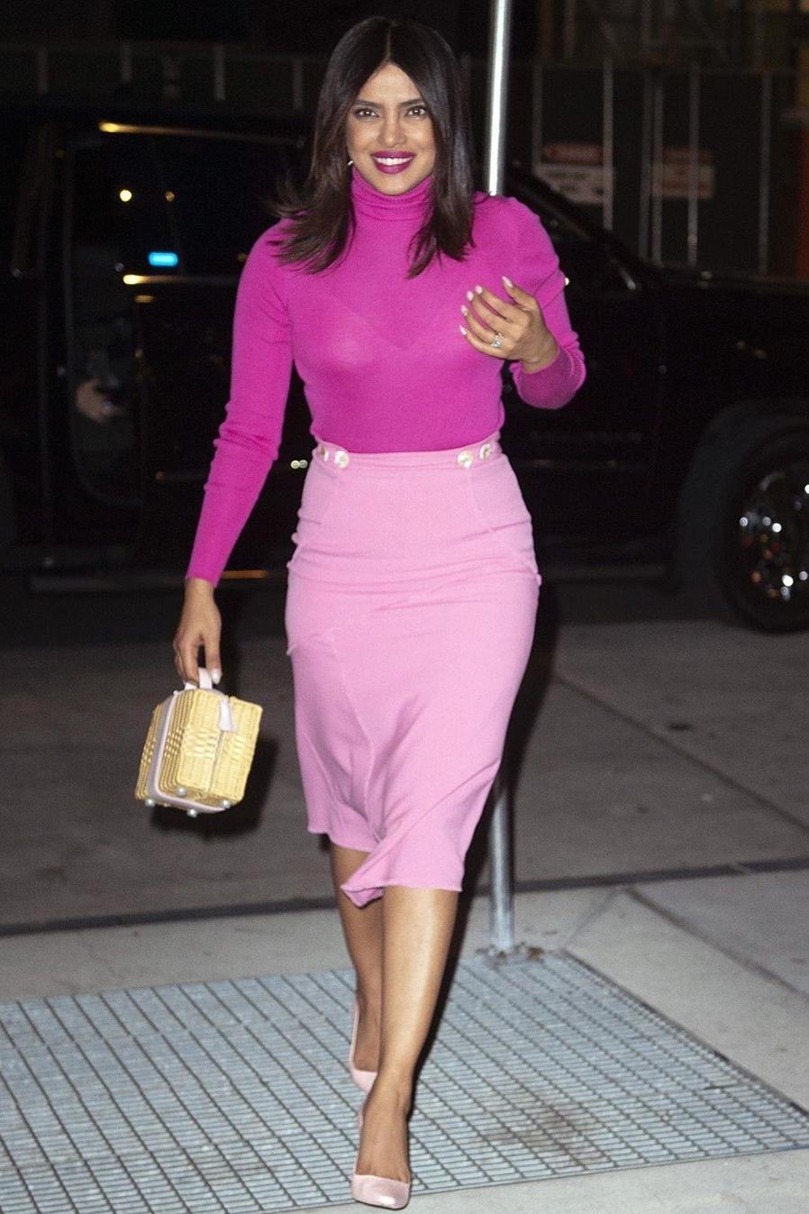 sweater turtleneck priyanka chopra celebrity pink skirt midi skirt