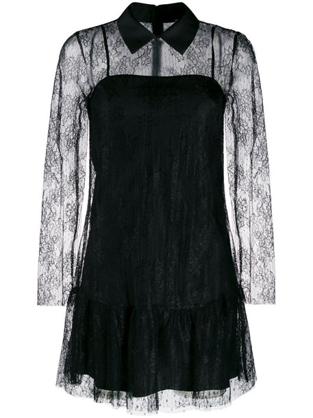 RED Valentino lace overlay collared dress in black