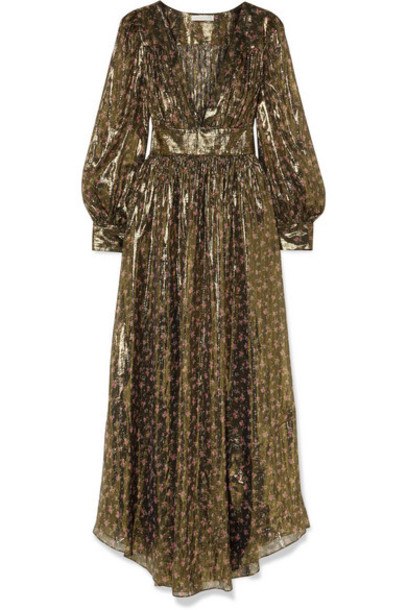 LoveShackFancy - Cyrena Floral-print Metallic Silk-blend Chiffon Maxi Dress - Black