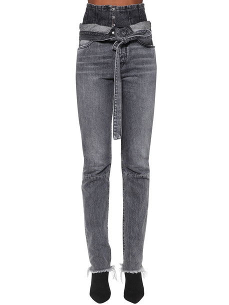 UNRAVEL Corset Straight Leg Cotton Denim Jeans in grey
