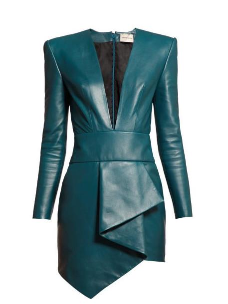 Alexandre Vauthier - Plunge Neckline Draped Leather Dress - Womens - Blue