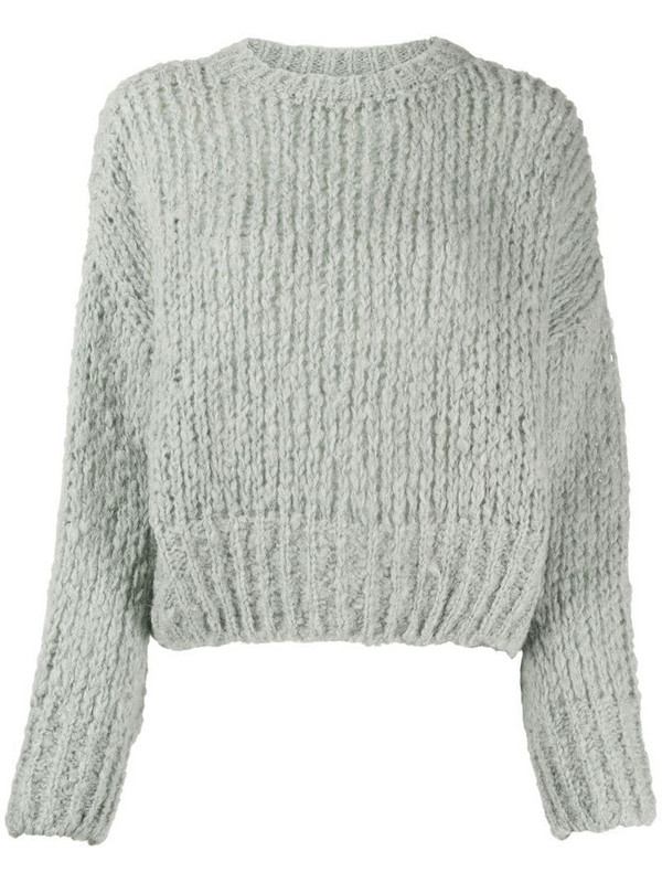 ANINE BING cropped chunky knit jumper in grey