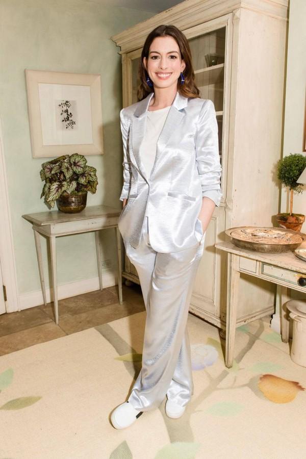 jacket satin silver pants top sneakers suit celebrity anne hathaway blazer