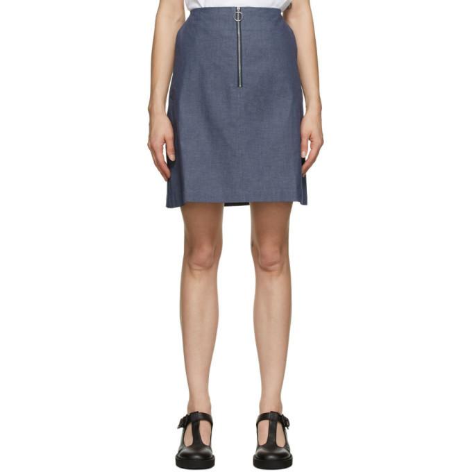 Maison Kitsune Blue A-Line Skirt in navy