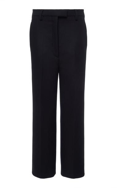 Prada Cropped Wool-Crepe Straight-Leg Pants Size: 36 in black