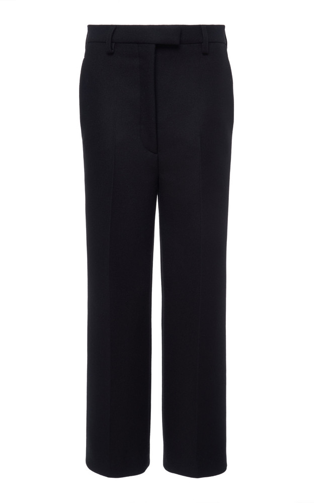 Prada Cropped Wool-Crepe Straight-Leg Pants Size: 36 in black