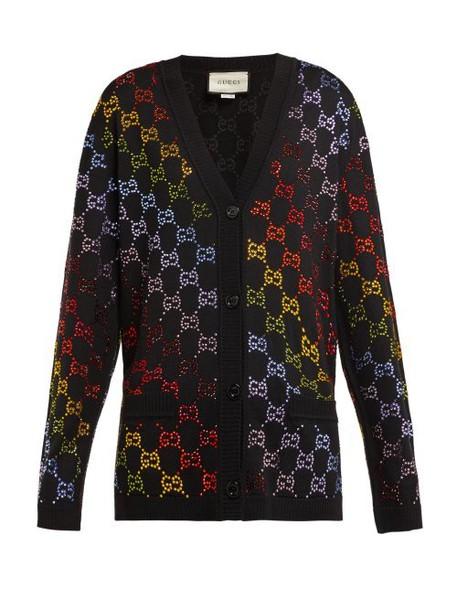 Gucci - Gg Crystal Embellished Wool Cardigan - Womens - Black Multi