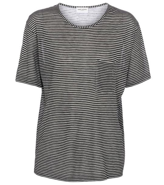 Saint Laurent Striped T-shirt in black