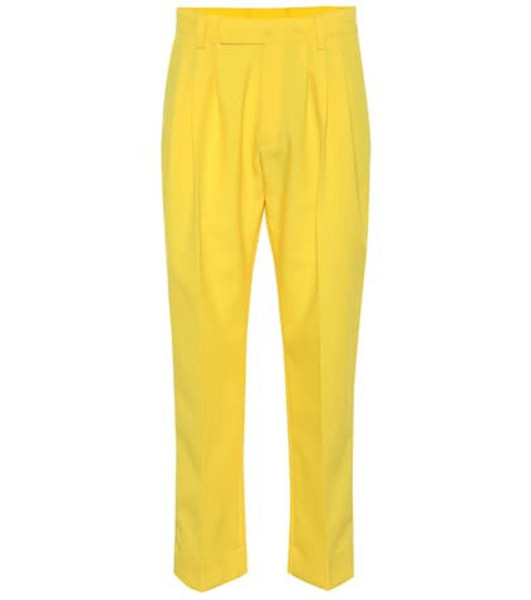 Plan C High-rise cropped pants in yellow