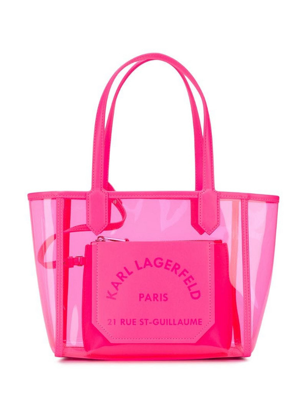 Karl Lagerfeld K/Journey transparent small tote in pink