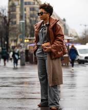 jacket,leather jacket,puffer jacket,brown jacket,trench coat,wide-leg pants,pumps,shirt,loewe,handbag