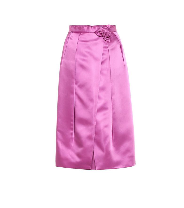 Prada Duchesse-satin midi skirt in pink