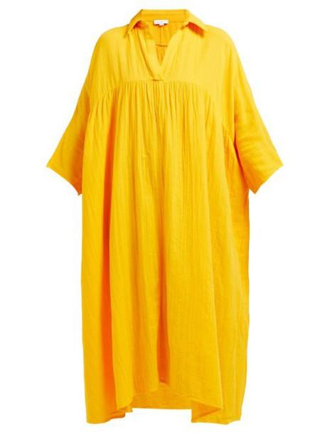 Rhode Resort - Leo Crinkle Cotton Gauze Dress - Womens - Yellow