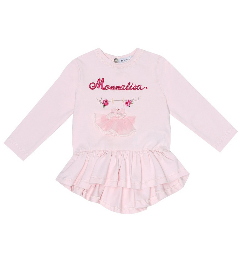 Monnalisa Baby embroidered cotton top in pink