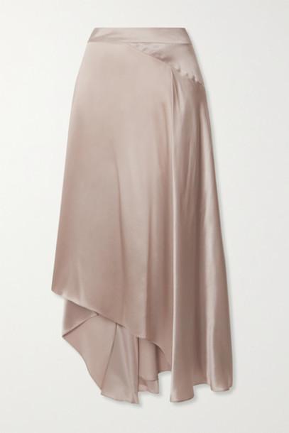 Le Kasha - Asymmetric Paneled Silk-satin Skirt - Beige