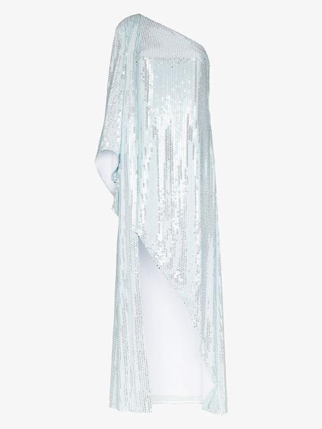 Halpern one shoulder sequinned dress in white