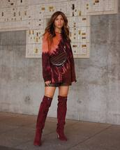 shoes,over the knee boots,red boots,stuart weitzman,heel boots,leather shorts,sweatshirt,zara,brown bag
