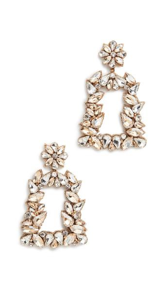 Deepa Gurnani Gold Crystal Earrings