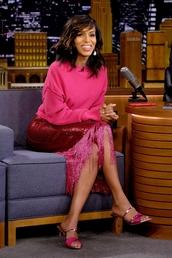 shoes,kerry washington,celebrity,pink,skirt,midi skirt,top