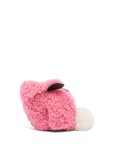 Loewe - Bunny Shearling Coin Purse - Womens - Pink