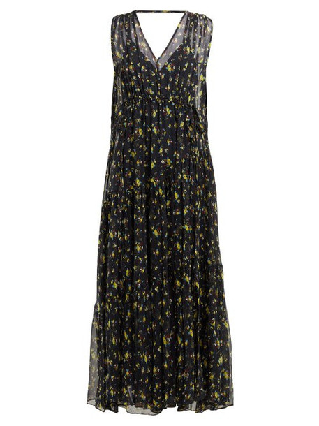 Lee Mathews - Clementine Floral Print Silk Dress - Womens - Indigo