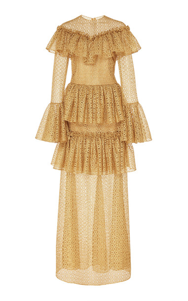 Christian Siriano Filigree Tiered Gown in gold