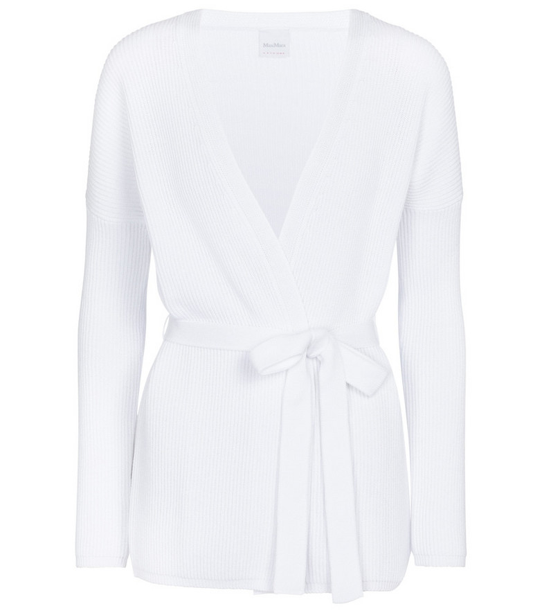 Max Mara Leisure Cavallo belted cotton-blend cardigan in white