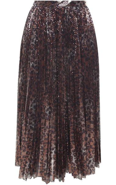 MSGM Leopard-print Sequinned Midi Skirt