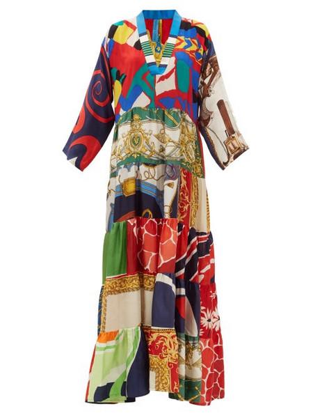 Rianna + Nina Rianna + Nina - Vintage V-neck Patchwork Silk Dress - Womens - Multi
