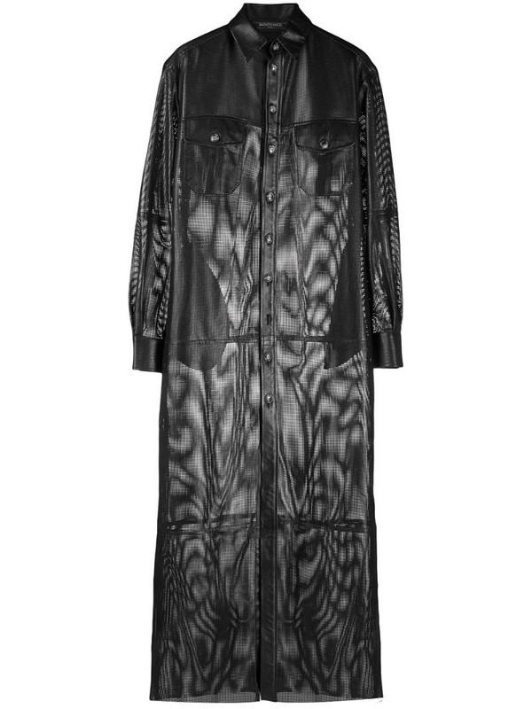Simonetta Ravizza cut-out detail textured shirt dress in black